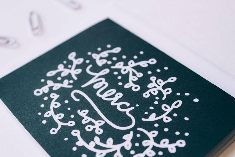 Merci Floral Lettering Card - Studio 404 Paper