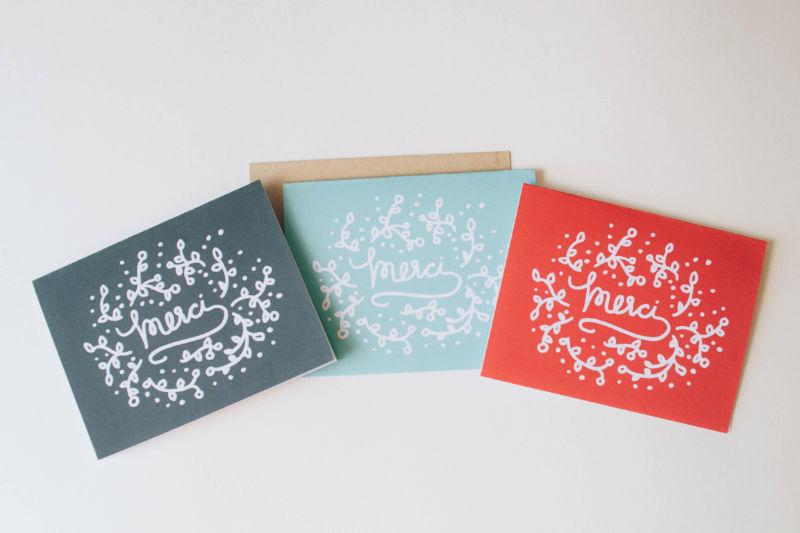 Merci Floral Lettering Cards - Studio 404 Paper