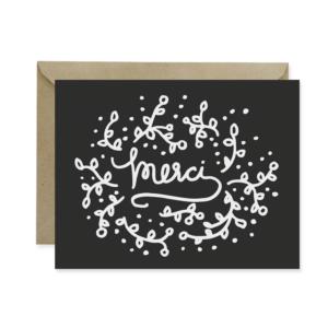 Merci Black Thank You Card - Studio 404 Paper