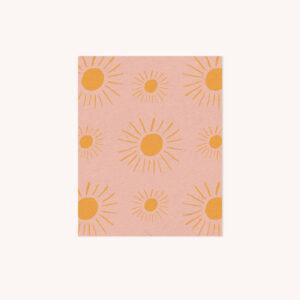 Illuminated Yellow Sun on Blush Pattern Notecard