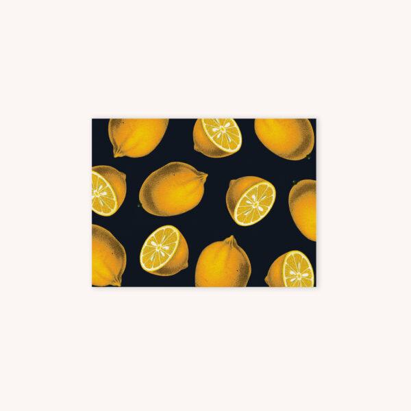 Sliced and whole lemon illustration pattern card on black background