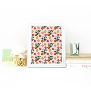 Orange Botanical Pattern Print on Desk