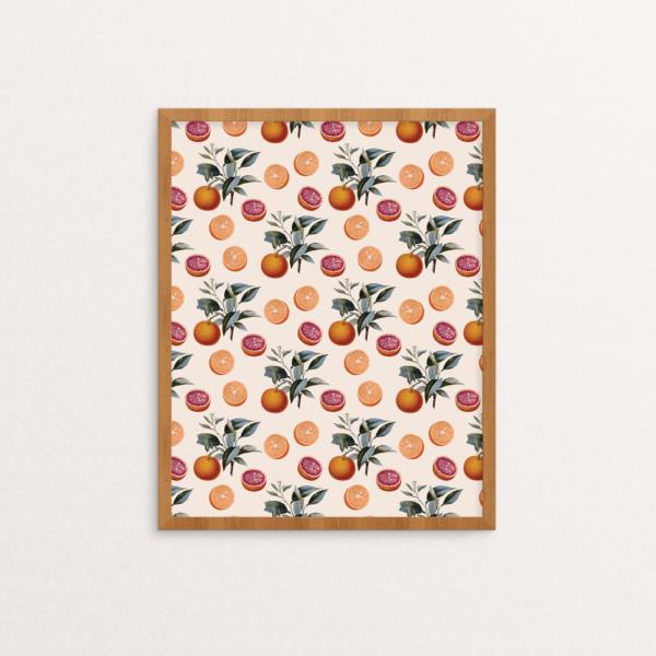 Botanical Orange Pattern Print in Frame