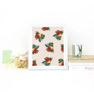 Peach Botanical Pattern Print on Desk