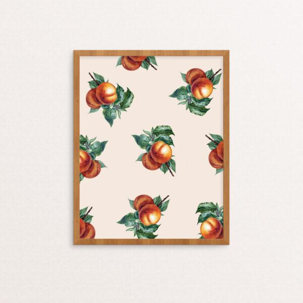Botanical Peach Pattern Print in Frame