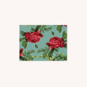 Red rose bloom illustration pattern card on green background