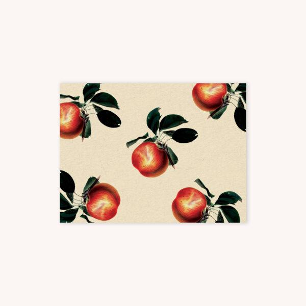 Apple illustration pattern card on creme background