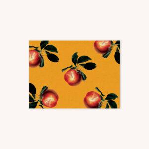Apple illustration pattern card on goldenrod yellow background