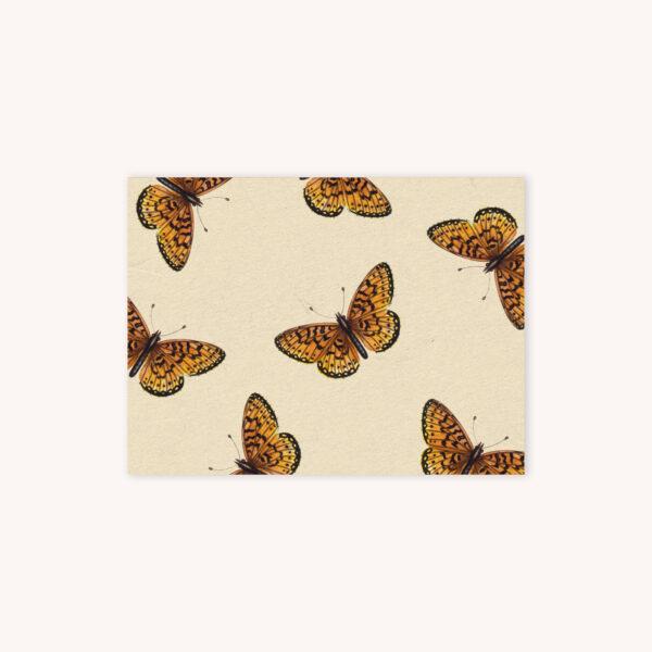 Monarch butterfly botanical illustration pattern on a creme background