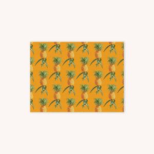 Pineapple illustration pattern on goldenrod yellow background