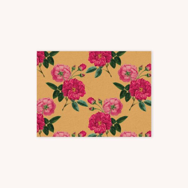 Red rose botanical illustration pattern on dandelion yellow background