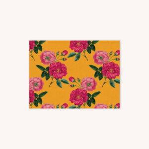 Red rose botanical illustration pattern on monarch yellow background