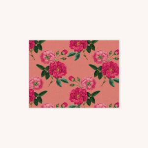 Red rose botanical illustration pattern on sunset pink background