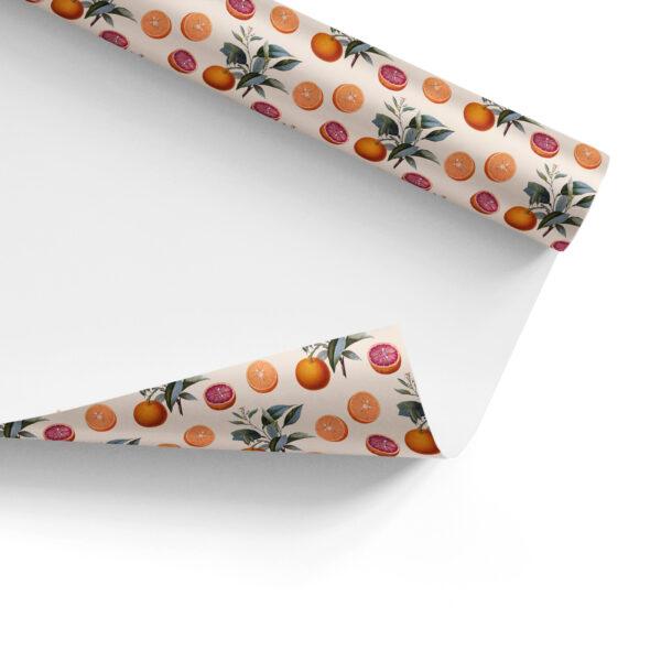 Orange Botanical Pattern Gift Wrap